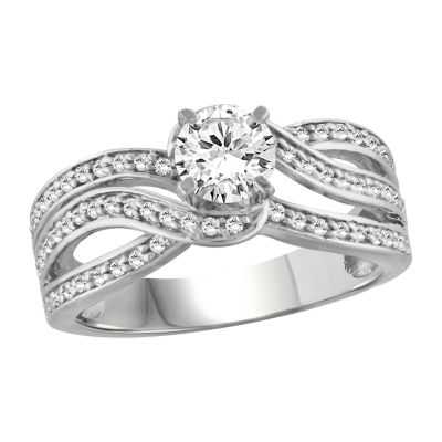 Womens 1 CT. T.W. White Cubic Zirconia Sterling Silver Engagement Ring