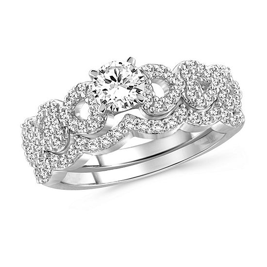Womens 2 CT. T.W. White Cubic Zirconia Sterling Silver Engagement Ring