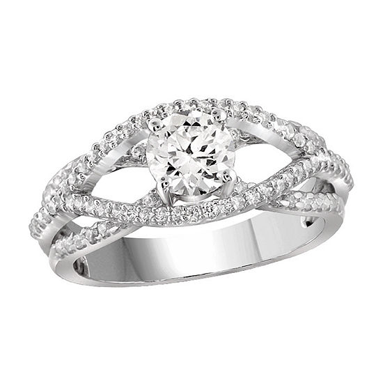 Womens 2 3/4 CT. T.W. White Cubic Zirconia Sterling Silver Engagement Ring