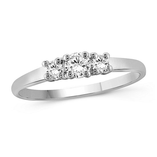 Womens 1/2 CT. T.W. White Cubic Zirconia Sterling Silver 3-Stone Promise Ring