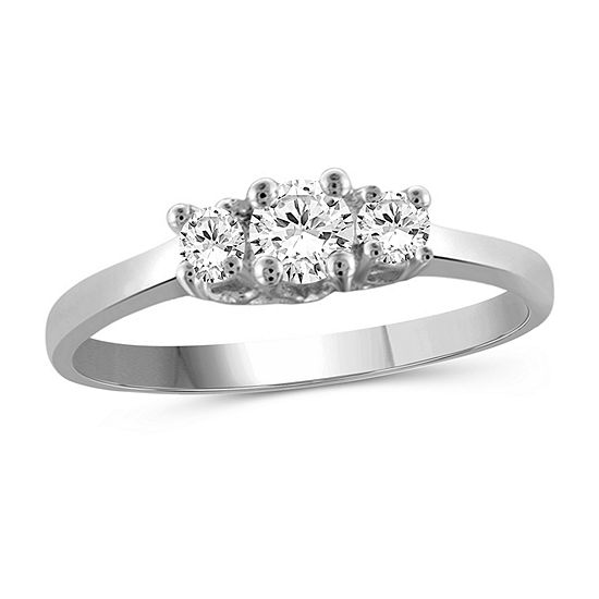 Womens 1 2 Ct Tw White Cubic Zirconia Sterling Silver 3 Stone Promise Ring
