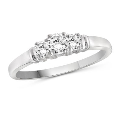 Womens 3/4 CT. T.W. White Cubic Zirconia Sterling Silver 3-Stone Promise Ring
