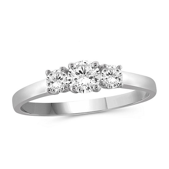 Womens 3/4 CT. T.W. White Cubic Zirconia Sterling Silver 3-Stone Engagement Ring