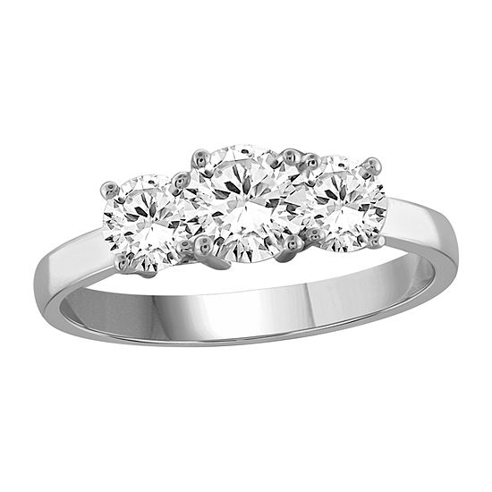 Womens 1 CT. T.W. White Cubic Zirconia Sterling Silver 3-Stone Engagement Ring