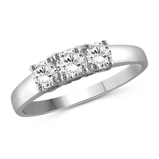 Womens 1 CT. T.W. White Cubic Zirconia Sterling Silver 3-Stone Promise Ring