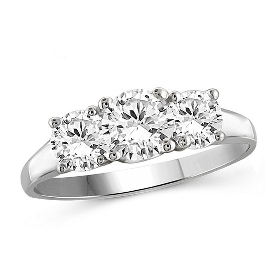Womens 1 3/4 CT. T.W. White Cubic Zirconia Sterling Silver 3-Stone Promise Ring