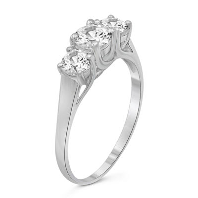 Womens 1 3/4 CT. T.W. White Cubic Zirconia 3-Stone Promise Ring