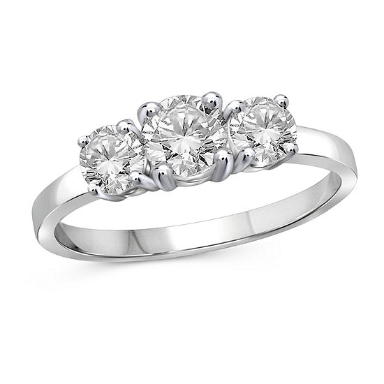 Womens 2 CT. T.W. White Cubic Zirconia Sterling Silver 3-Stone Promise Ring