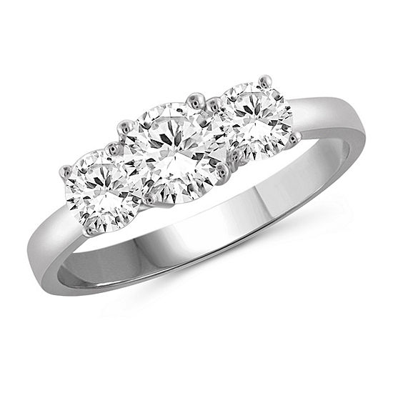 Womens 2 1/4 CT. T.W. White Cubic Zirconia Sterling Silver 3-Stone Promise Ring