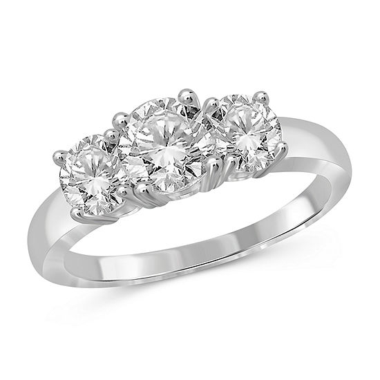 Womens 3 CT. T.W. White Cubic Zirconia Sterling Silver 3-Stone Promise Ring