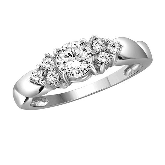 Womens 1 1/3 CT. T.W. White Cubic Zirconia Sterling Silver Promise Ring