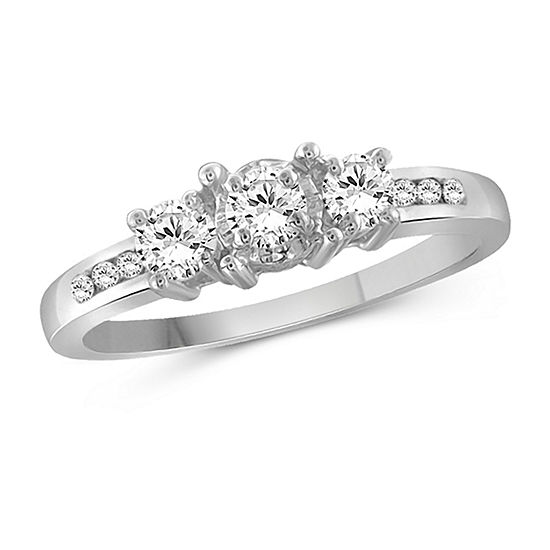 Womens 3/4 CT. T.W. White Cubic Zirconia Sterling Silver Promise Ring