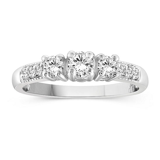 Womens 1 CT. T.W. White Cubic Zirconia Sterling Silver Promise Ring