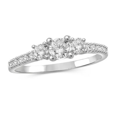 Womens 2 1/4 CT. T.W. White Cubic Zirconia Sterling Silver Promise Ring