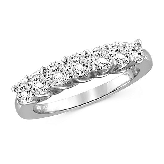 Womens 2MM 2 1/5 CT. T.W. White Cubic Zirconia Sterling Silver Band