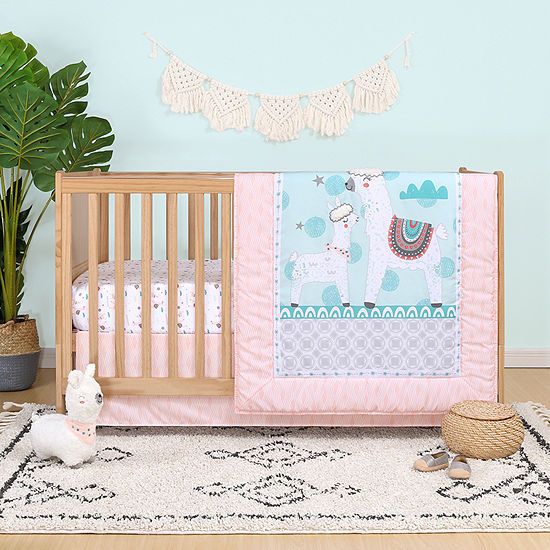 Belle Llama Love 4 Pc Crib Bedding Set