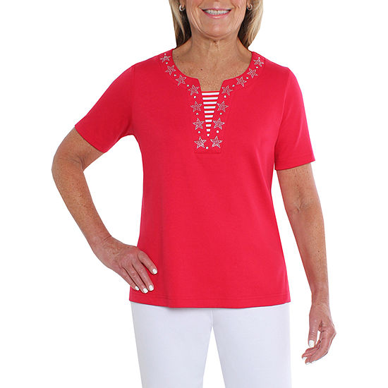 Cathy Daniels Nautical-Womens Split Crew Neck Short Sleeve T-Shirt