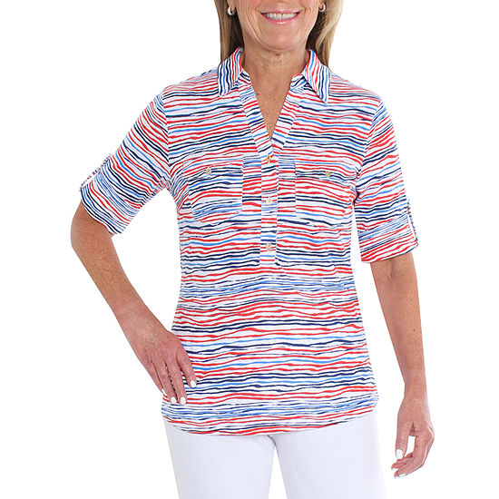 Cathy Daniels Nautical Womens Elbow Sleeve Knit Blouse