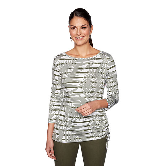Lark Lane Must Haves Ii-Womens Boat Neck 3/4 Sleeve T-Shirt