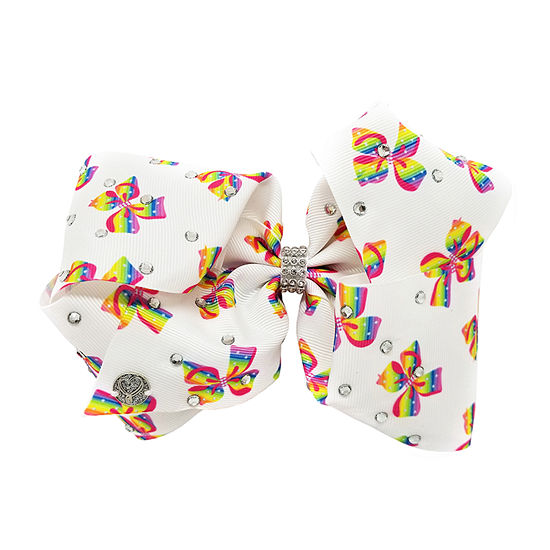 JoJo Siwa White Bow With Rainbow Bow Print