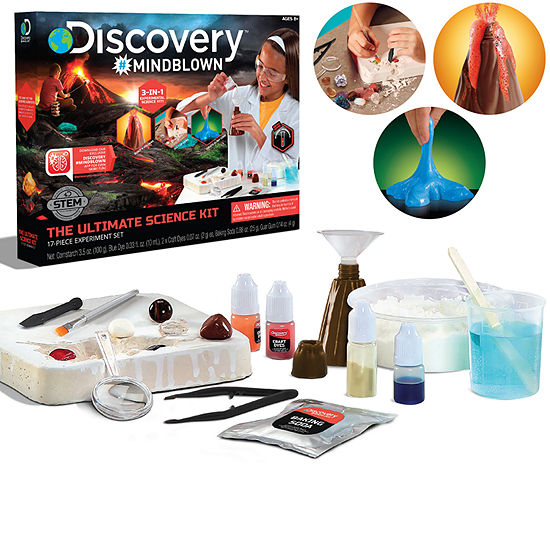 Discovery #MINDBLOWN Ultimate Science Kit, 3 Unique projects, Volcano Eruption, Gemstone Excavation, Create Slime Goop