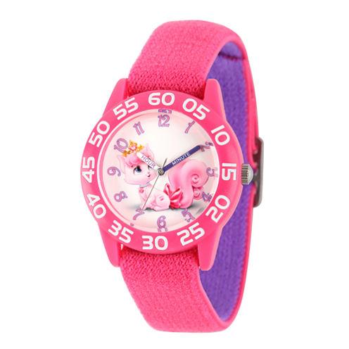Disney Girls Palace Pets Pink Dreamy Time Teacher Strap Watch W002838
