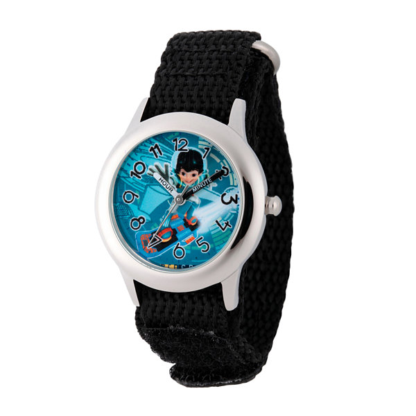 Disney Boys Black and Silver Tone Miles From Tomorrowland Time Teacher Strap Watch W003056