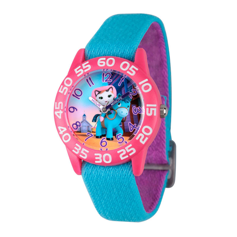 Disney Girls Blue and Pink Sheriff Callie Time Teacher Strap Watch W003083