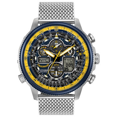 Citizen® Eco-Drive Mens Stainless Steel Blue Angels Navihawk A-T Watch Jy8031-56L