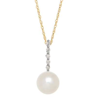 Certified Sofia™ Cultured Freshwater Pearl & Diamond Accent 10K Yellow Gold Pendant