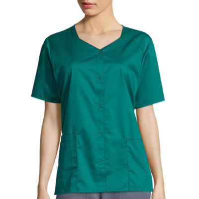WonderWink® WonderWORK 200 Womens Short Sleeve Snap Front Top - Plus