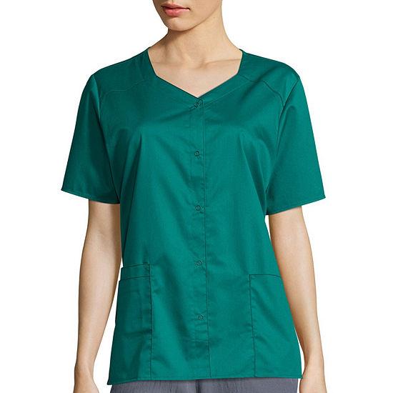 WonderWink® WonderWORK 200 Womens Short Sleeve Snap Front Top - Plus