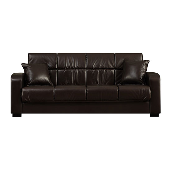 Sammy Track Arm Faux Leather Convert A Couch