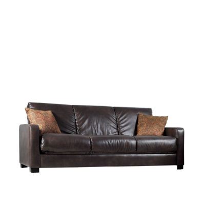 Sally Track Arm Faux Leather Convert A Couch