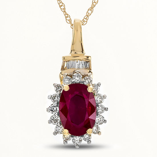 Womens 1/5 CT. T.W. Lead Glass-Filled Red Ruby 10K Gold Pendant Necklace