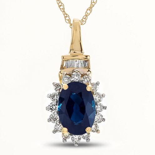 Womens 1/5 CT. T.W. Blue Sapphire 10K Gold Pendant Necklace