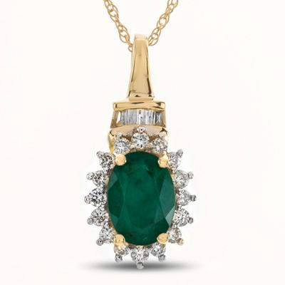 Womens 1/5 CT. T.W. Genuine Green Emerald 10K Gold Pendant Necklace