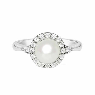 Womens Freshwater Pearl & Lab-Created White Sapphire Sterling Silver Cocktail Ring