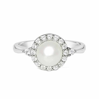 Fine Jewelry Cultured Freshwater Pearl & White Sapphire Ring p3t10WgSwN