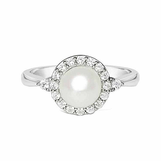 Cultured Freshwater Pearl & Lab-Created White Sapphire Sterling Silver Cocktail Ring