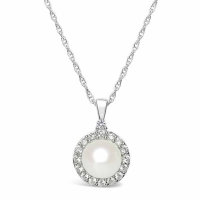 Womens Freshwater Pearl & Lab-Created White Sapphire Sterling Silver Pendant Necklace