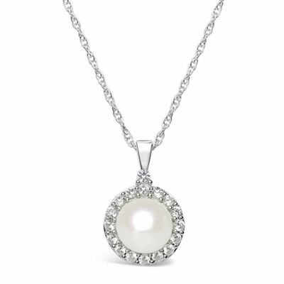 Womens Cultured Freshwater Pearl & Lab-Created Sapphire Sterling Silver Pendant Necklace