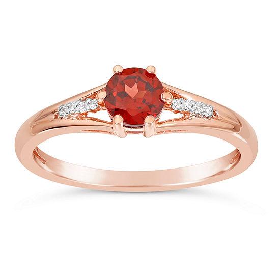 Womens Diamond Accent Genuine Red Garnet 10K Gold Round Cocktail Ring