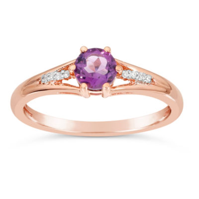 Womens Diamond Accent Genuine Purple Amethyst 10K Gold Round Cocktail Ring