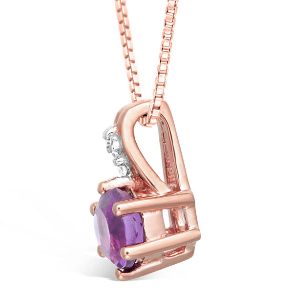Womens Diamond Accent Purple Amethyst 10K Gold Pendant Necklace