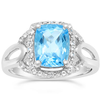 Womens Genuine Blue Topaz Sterling Silver Rectangular Cocktail Ring