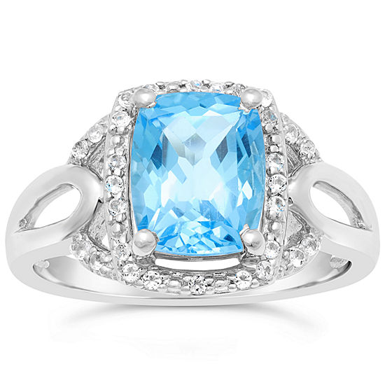 Womens Genuine Blue Topaz Sterling Silver Rectangular Cocktail Ring