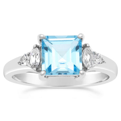Womens Genuine Blue Topaz Sterling Silver Square Cocktail Ring