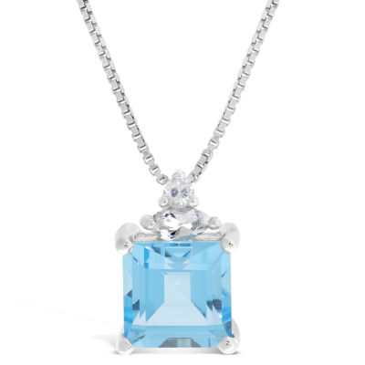 Womens Genuine Blue Topaz Sterling Silver Square Pendant Necklace