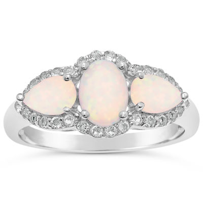 Womens Lab Created White Opal Sterling Silver 3-Stone Cocktail Ring
